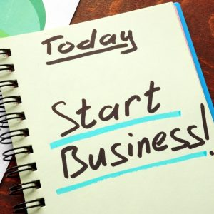 New Business Consulting, a notebook that says Start Business!